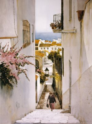 """Malaga by the Sea"" (spain) Off-set lithograph print edition 500 23""x17"" 125.00"