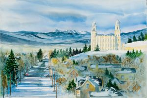 """Manti Utah in winter"" watercolor off-set lithograph, edition 1000, 12""x18"" 50.00"