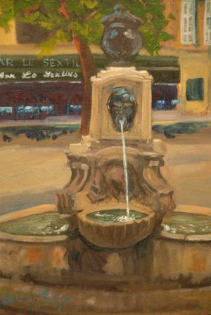 """mean fountain"""" oil 8""""x10"""" 200"""