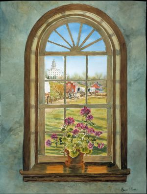 """Nauvoo, Window to the Past"" watercolor, giclee print on wc paper"