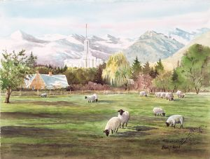 """Mt. Timpanogos Temple"" watercolor giclee print on wc paper edition 50 125.00"