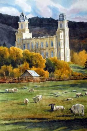 Manti Temple with Sheep