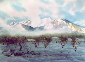 """Mt. Timpanogos"" watercolor giclee print on wc paper 2 sizes 13""x 18"" 125.00 22""x 30"" 200.00"