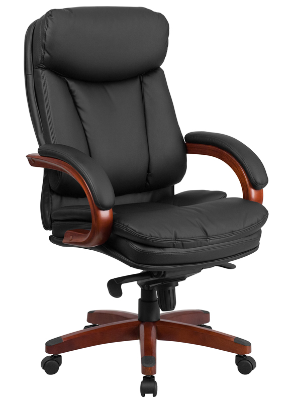 office chair leather electric execution gone wrong btod high back mahogany wood base