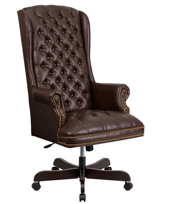 leather desk chairs small chair traditional tufted high back on sale btod office 3 colors