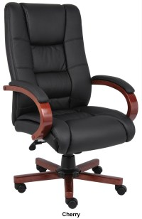 Boss B8991 High Back Leather Wood Conference Chair