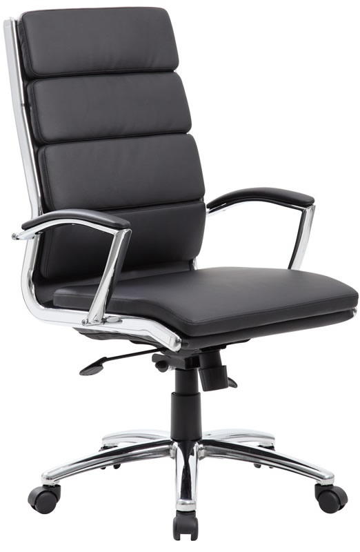 black leather desk chairs mainstays rocking chair boss modern office chrome base