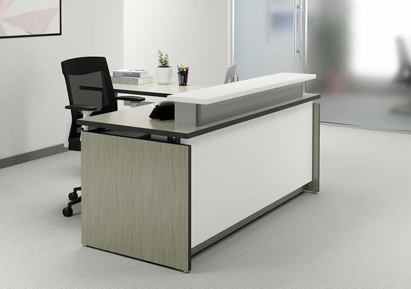 VertDesk Executive Series L Shape Sit to Stand Reception Desk