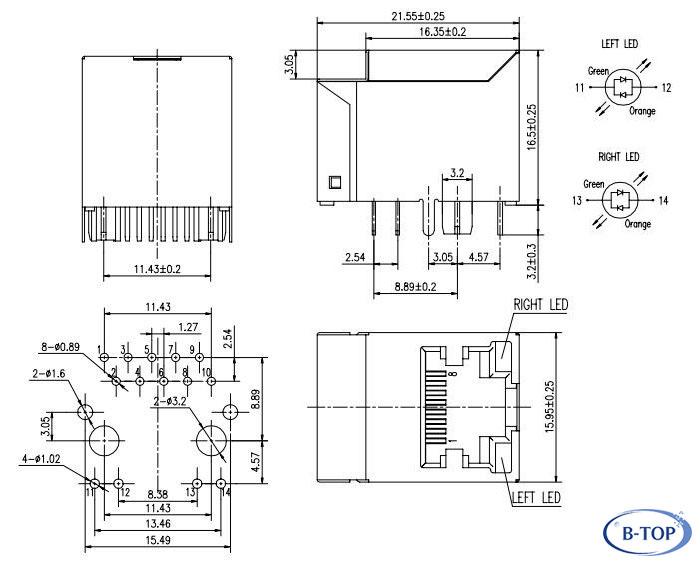 Single Port Vertical RJ45 Jack for Gigabit Ethernet