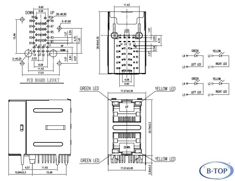 Dual RJ45 Modular Connector with 10/100Base-TX Transformer