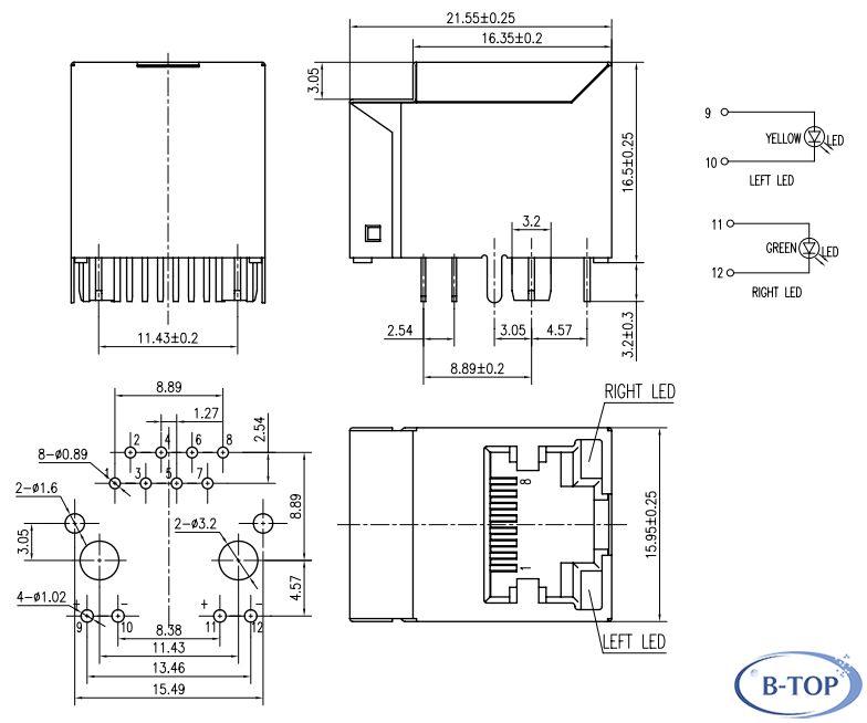 Single 180 degree RJ45 Modular Jack W/TRANS W/LED