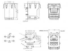 10/100 Base-TX RJ45 Modular Jack over USB with LED and