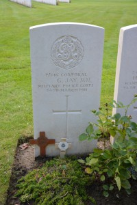 Gravesite of Corporal George JAY MM at Ypres Reservoir Cemetery.