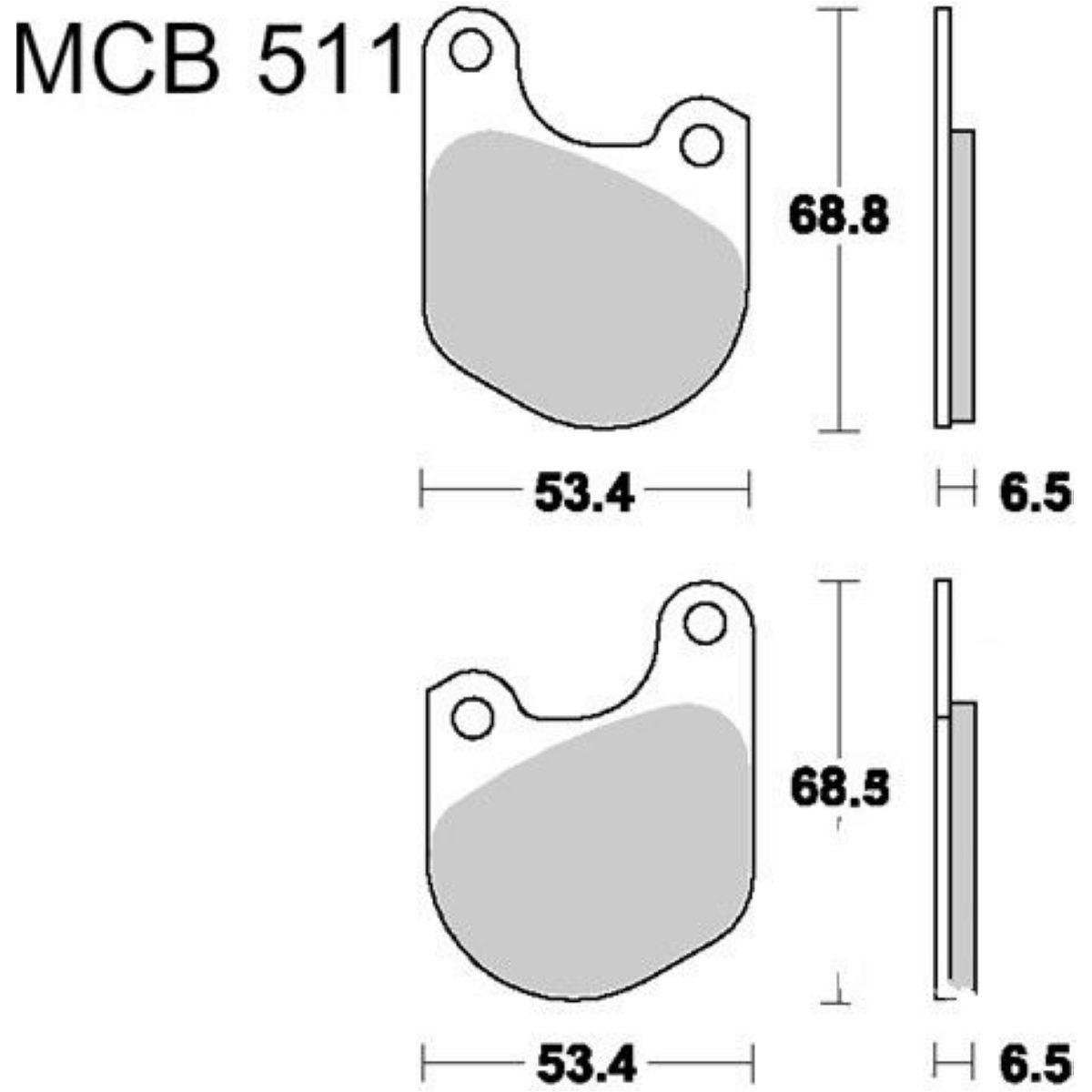Bremsklotz Standard TRW MCB511, Bremsbeläge für Harley