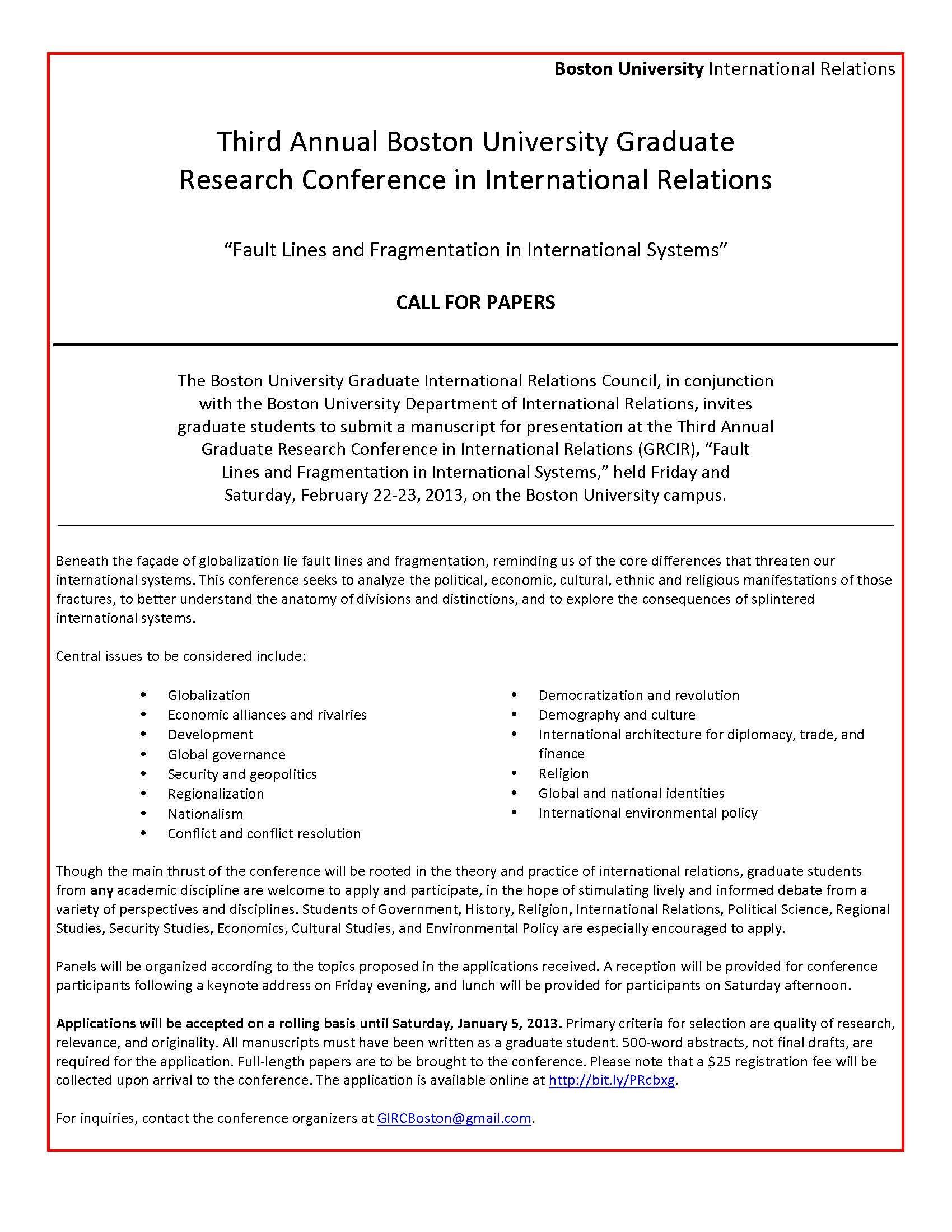 Call For Papers Graduate Research Conference In International