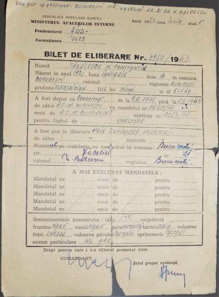 Bilet de eliberare din 1963, la expirarea pedepsei, al deținutului politic Constantin Tănăsescu (deținut intre 1948 și 1963)