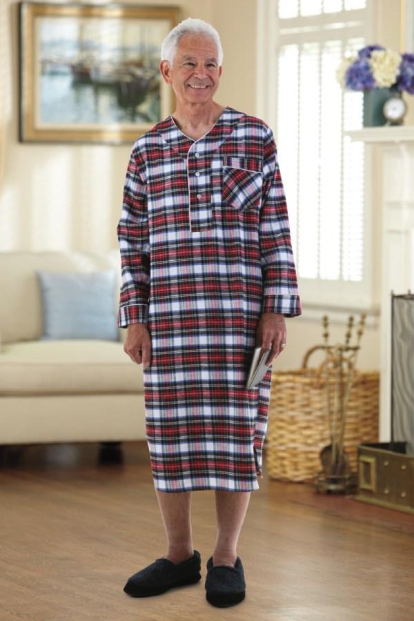 Flannel Open Nightshirt Buck &