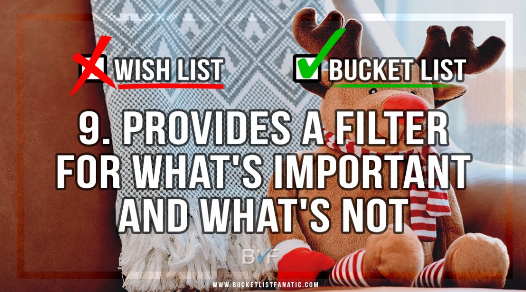 Drop the Christmas Wish List - Make Bucket List - Filter for What's Important - by Bucket List Fanatic