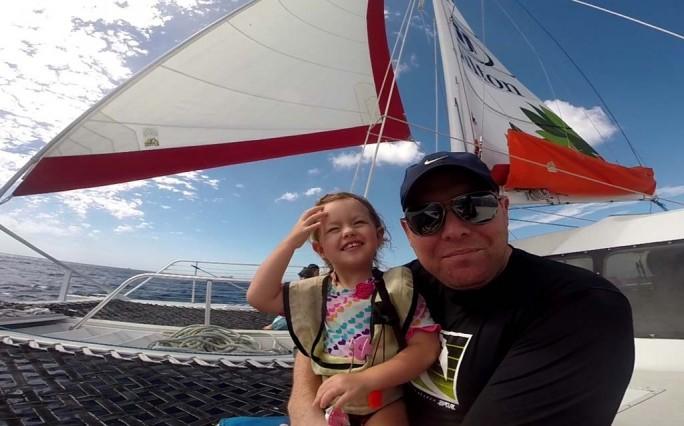 Athena and Daddy Sailing on the Spirit of Aloha