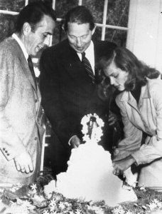 Louis Bromfield with Humphrey Bogart and Lauren Bacall on their wedding day.