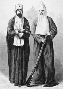19th century rendering of  Reconstruction era Klansmen.
