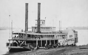 The Ben Campbell, an example of an antebellum steamboat.