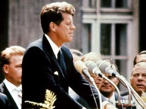 John Kennedy speaking in Berlin.