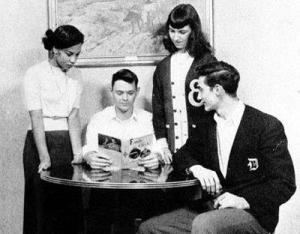 Toni Morrison (far left) at Lorain High School (Photo credit: Lorain Hist. Society).