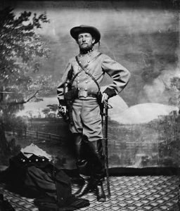Colonel John Singleton Mosby. He and members of the 43rd Battalion, !st Virginia Cavalry were the first Confederate forces into Washington. Mosby escorted President Lincoln safely to Richmond, where Lincoln was confined for some time.