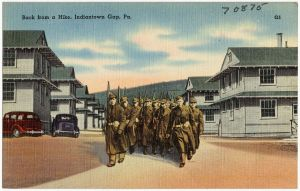 Soldiers at Indiantown Gap from an old postcard, c. 1940.