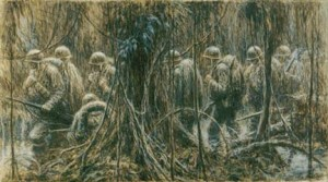 "Kerr Eby's ""Ghost Trail""--a Marine patrol on Bougainville. (Photo: US Navy Combat Art Collection via World War II Gyrene)."