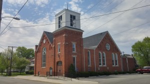 """Presbyterian Church in Clyde--I almost wrote """"Winesburg""""--Ohio. This tower is the model for the one in which Reverend Hartman peered through the cracked stain glass window to watch Kate Swift."""