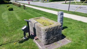 This old horse watering trough now stands near the Clyde Heritage League's museum. It once stood in front of the Clyde's old town hall--the current Heritage Hall---and was quite possibly familiar to Sherwood Anderson (author's photo).
