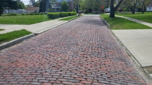 Old cobblestone stretch of street near the Clyde Public Library (author's photo).