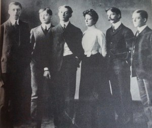 """The Anderson children, from left to right: Karl, who became a noted illustrator, Ray, Sherwood, Stella, Irwin, Jr., and Earl. Photo from """"Sherwood Anderson: A Biography"""" by Kim Townsend."""