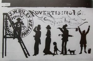 Sign created by Riley in 1871 advertising his services.