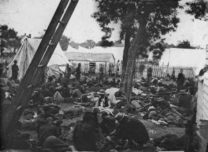 Union field hospital after the Battle of Savage's Station in Virginia in 1862.