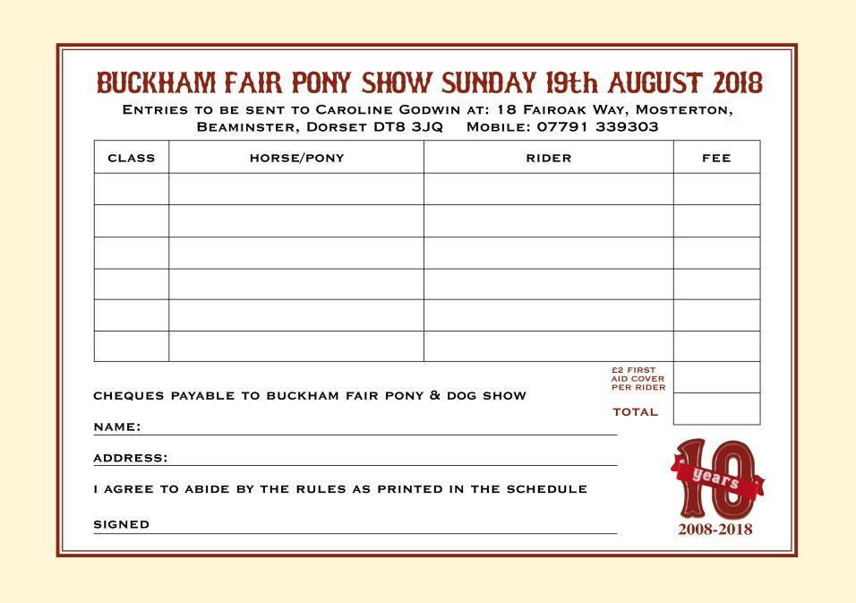 Entry Forms 2018 PONY