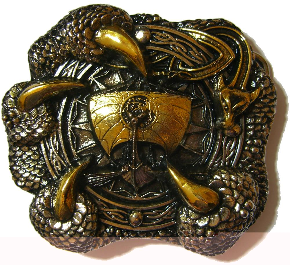 24ct Gold  Silver Plated Viking Dragon Claw Belt Buckle