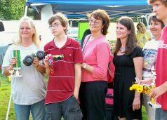 (from left) Charlann Farms (1st), Zach Zimmerman (2nd), Betty Cichy, (unknown judge), Robin Hoy, Carol McGowan (best decorated) (not shown: Kelsey Busch, 2nd)