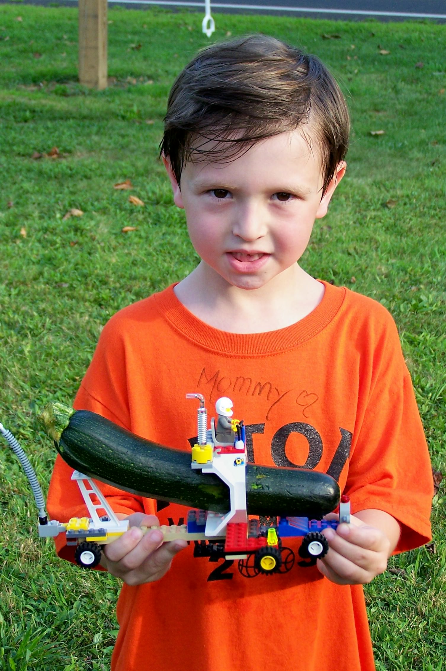 Cooper Corrigan with his zucchini racer
