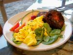 Lovin' Oven Roasted Beet Fritters with Eggs & Spinach