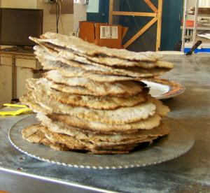 Finished matazh; photo by L. Goldman; baking matzah