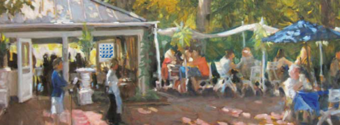 Hamilton's Grill Room courtyard; painting by Robert Beck