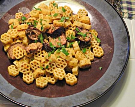 Arugula pesto and sausage by Chef Rich Baringer