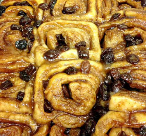 Cinnamon buns from Central Bucks Senior Center; photo credit Lynne Goldman