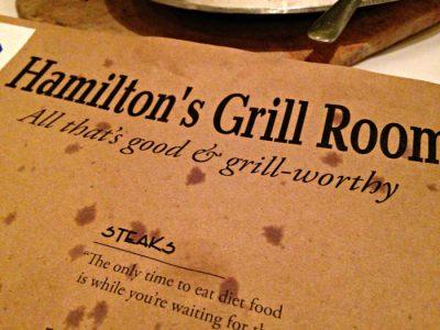 Hamilton's Grill Room new menu