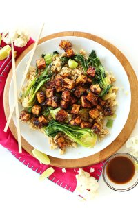 Crispy peanut tofu and cauliflower rice stirfry, The Minimalist Baker