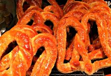 Soft pretzels Amish PA Dutch Farmers Market; photo credit Lynne Goldman