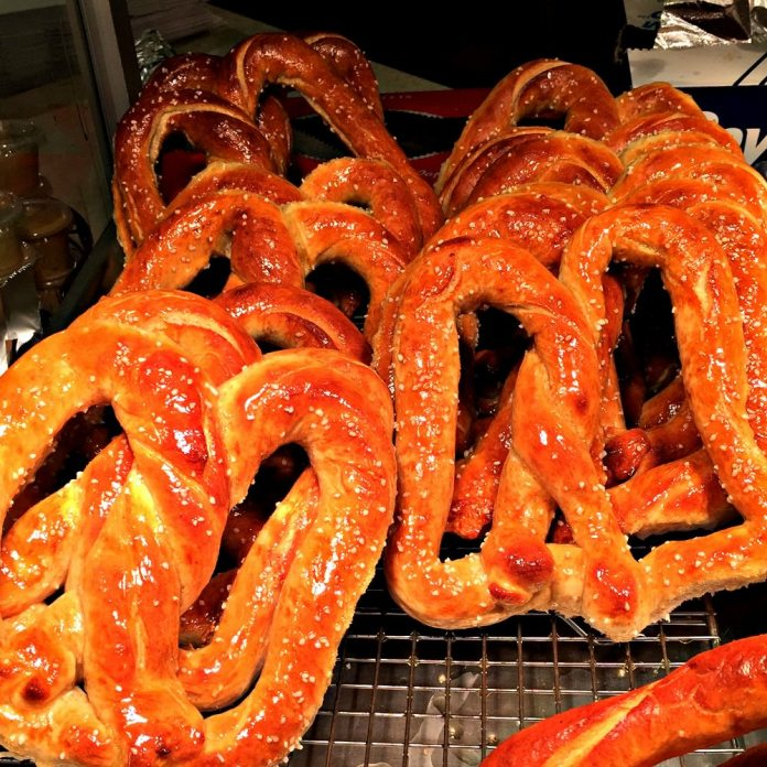 Soft pretzels Amish PA Dutch Farmers Market; photo credit Lynne Goldman